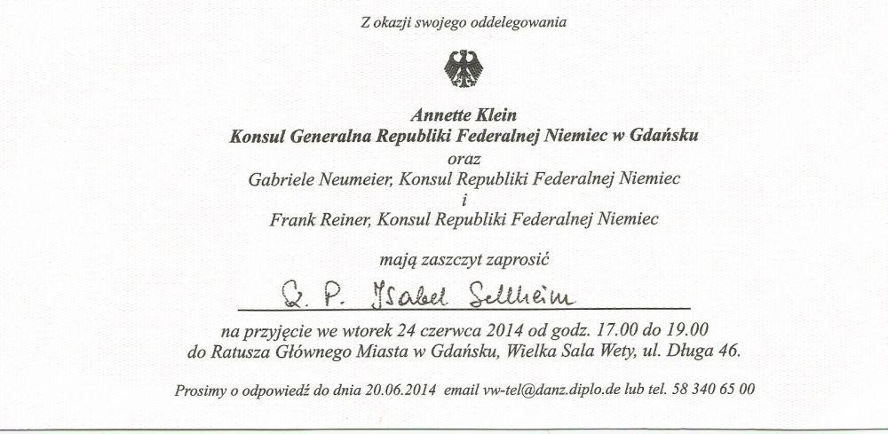 generalkonsulin klein verabschiedet - stolper heimatkreise e. v., Einladung