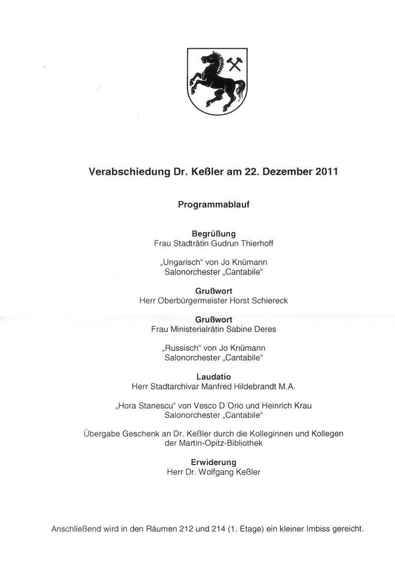 Dr. Keßler, Leiter der Martin-Opitz-Bibliothek, wurde in den Ruhestand verabschiedet - Stolper ...